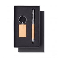 Porte-clés bois et stylo bille