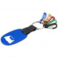 Porte-clés décapsuleur publicitaire avec 5 mousquetons colorés
