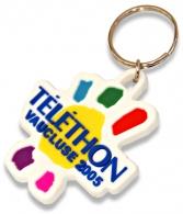 Porte-clés en pvc souple en relief - toucher gomme