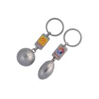 Porte-clés foot ou rugby 3d avec plaque perso.