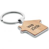 Porte-clés maison personnalisé métal et bambou