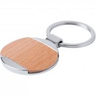 Porte-clés rond en bois et métal