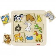 Puzzle en bois personnalisable animaux : qui mange quoi ?