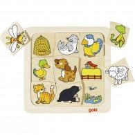 Puzzle en bois personnalisable animaux : qui vit où ?