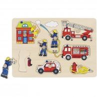 Puzzle en bois publicitaire - pompiers