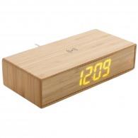 Réveil logoté en bambou avec chargeur sans fil 5w