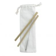 Set 2 pailles logotées bambou