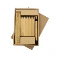 Set bureau en bambou avec carnet logoté à spirales A7, stylo et règle