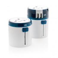 Set d'adaptateurs personnalisable de voyage avec port USB Travel Blue