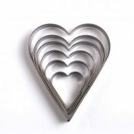 Set de 6 emporte pièces coeur
