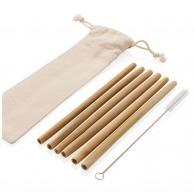 Set de 6 pailles en fibres de bambou