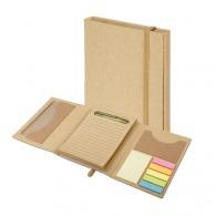 Set de bureau recyclé avec bloc-notes, bloc repositionnable et marque-pages