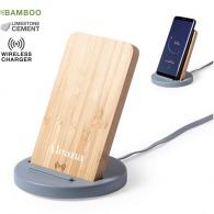 Support ciment et bambou avec charge sans fil 5w