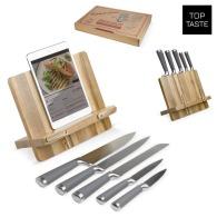 Cookbook and knife holder