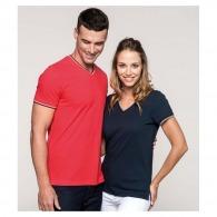 T-shirt col V personnalisable en maille piquée