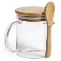 Taza de vidrio con cuchara y tapa