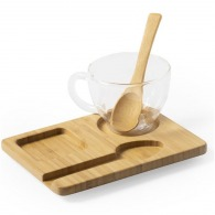 Taza de cristal con bandeja de bambú