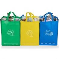 Triple waste sorting bin bag