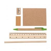 Trousse garnie (taille-crayon, gomme, règle, stylo, carnet) en non-tissé