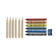Tube cartonnée avec 6 crayons gras et 6 crayons à papier