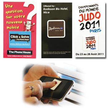 Sticker repositionnable nettoyeur d'écran microfibre | nettoyeur d'écran publicitaire | STIMF | objet publicitaire