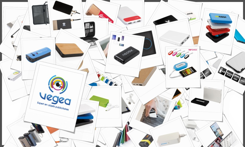 Sélection de batteries d\'urgence pour smartphones, PC et tablettes personnalisables à votre effigie (logo, texte), de 1000 à 2000 mah.