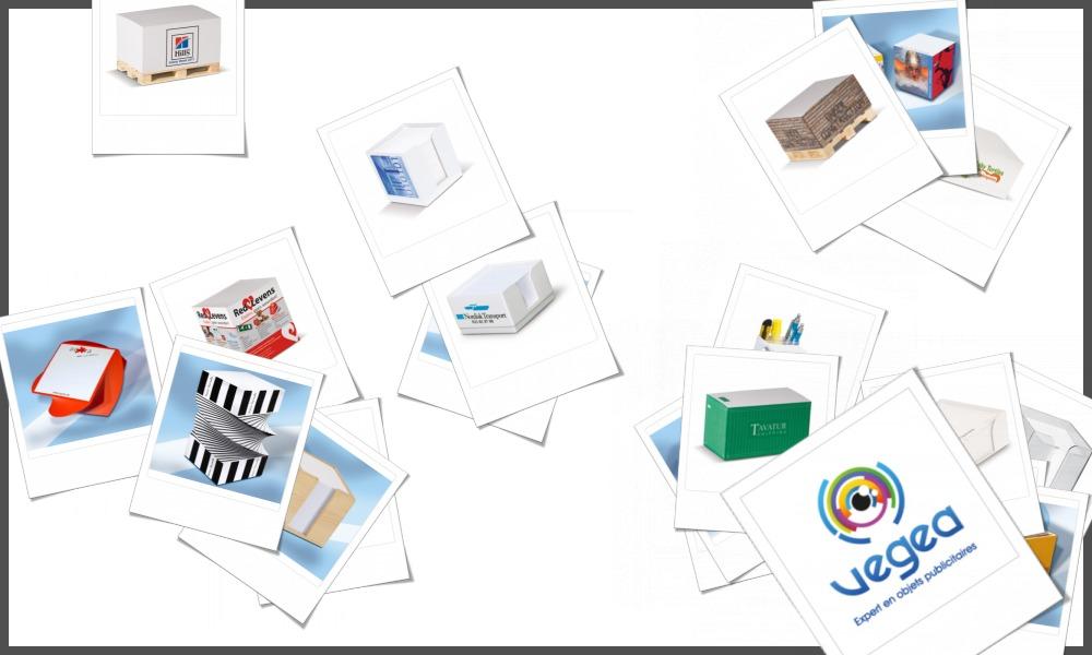 Bloc-notes cubes personnalisables à votre effigie avec un logo, un texte ou une image | Grossiste et fabrication d'objets publicitaires et cadeaux d'entreprise