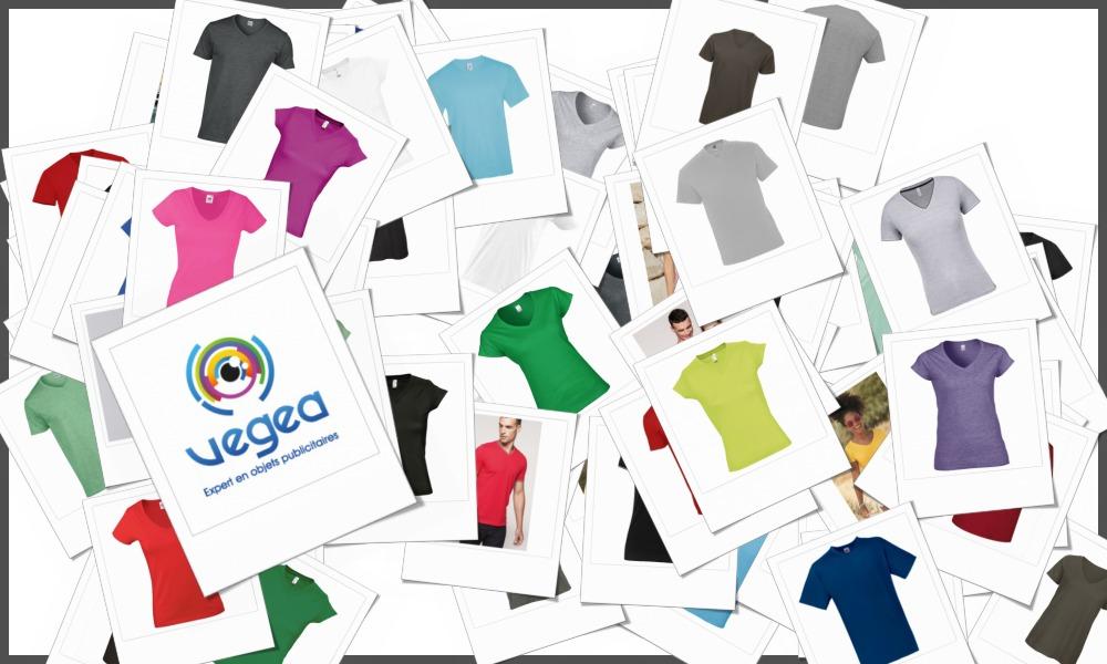 Tee-shirts col V personnalisables à votre effigie avec un logo, un texte ou une image   Grossiste et fabrication d'objets publicitaires et cadeaux d'entreprise