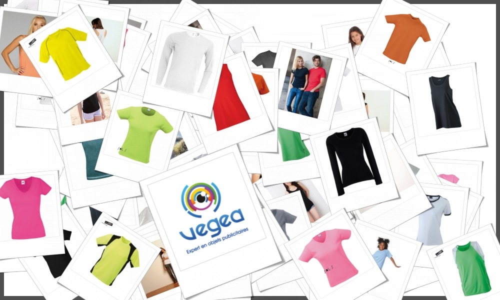 Sélection de t-shirts personnalisables à votre effigie (logo ou texte) en sérigraphie ou transfert : manches courtes, longues, homme, femme, enfant, sport, col rond, V, boutonné.