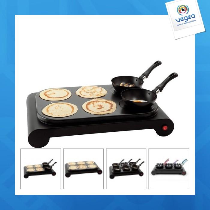 Appareil 3 en1 : wok, crêpière personnalisable et grill pour 6 personnes