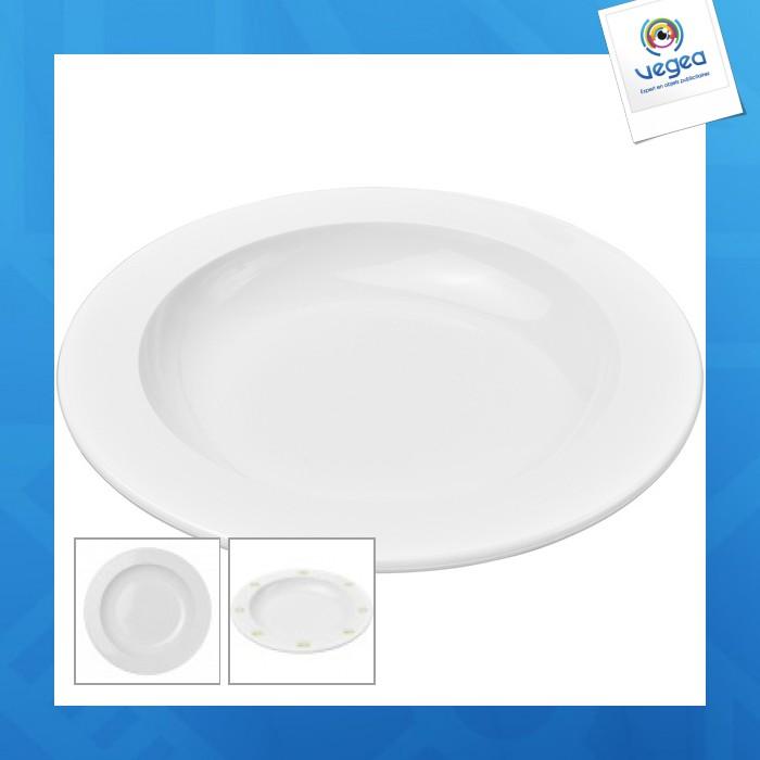 Assiette publicitaire en plastique réutilisable