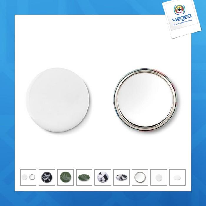 Badge en métal avec miroir personnalisable