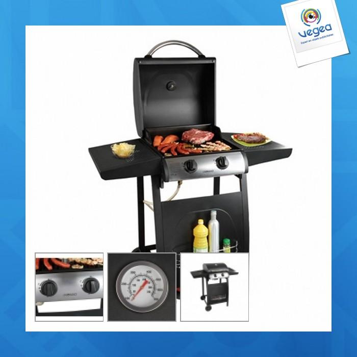 Barbecue personnalisable gaz sur pieds 2 brûleurs