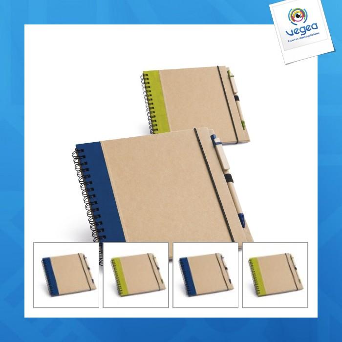 Bloc-notes en papier recyclé avec stylo à couverture rigide