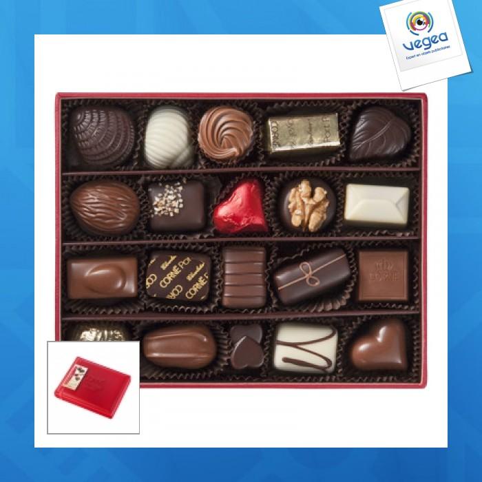 Boîte cuir rouge garnie 20 chocolats assortis