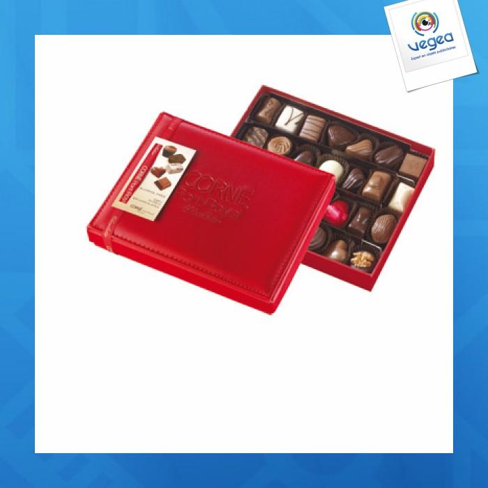 Boîte cuir rouge garnie 28 chocolats