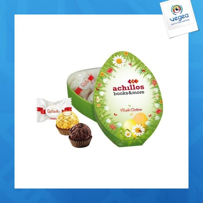 Boîte de cadeau avec raffaello, rocher ou rondnoir ferrero