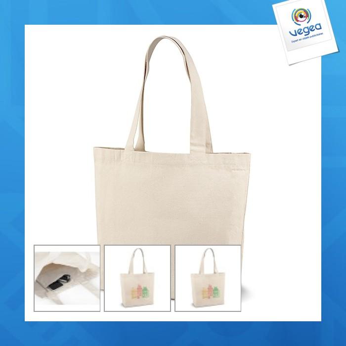 Bolsa de algodón personalizable con fuelle