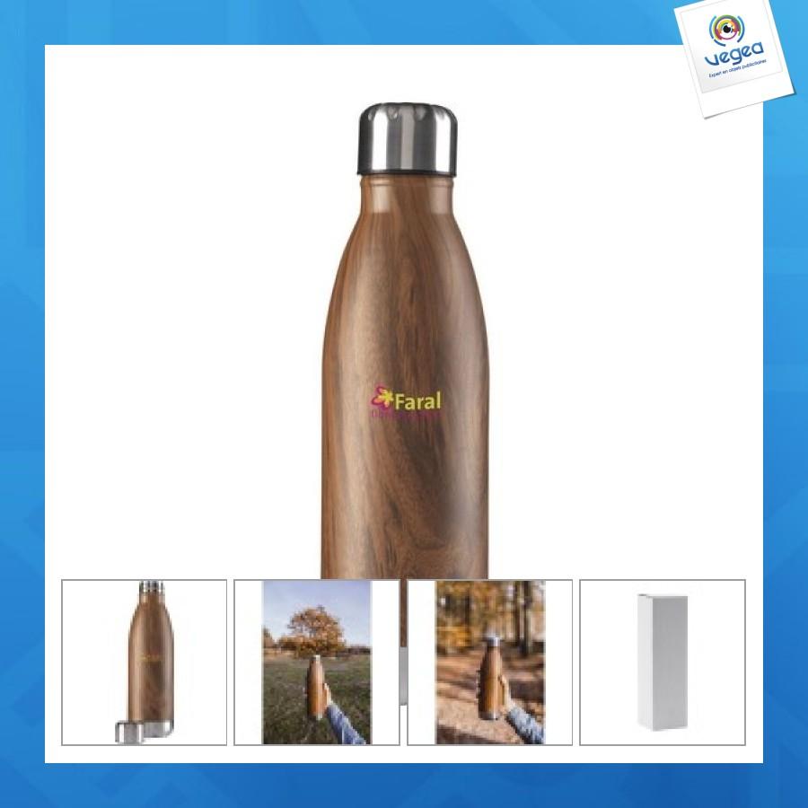 Botella de metal en apariencia de madera