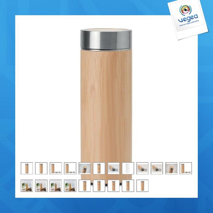 Bouteille isotherme bambou avec infuseur à thé publicitaire
