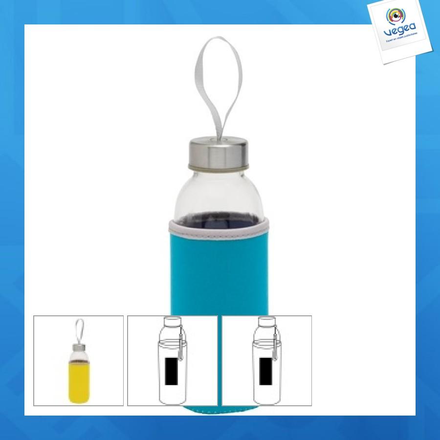 Bouteille personnalisable en verre avec gaine 450 ml