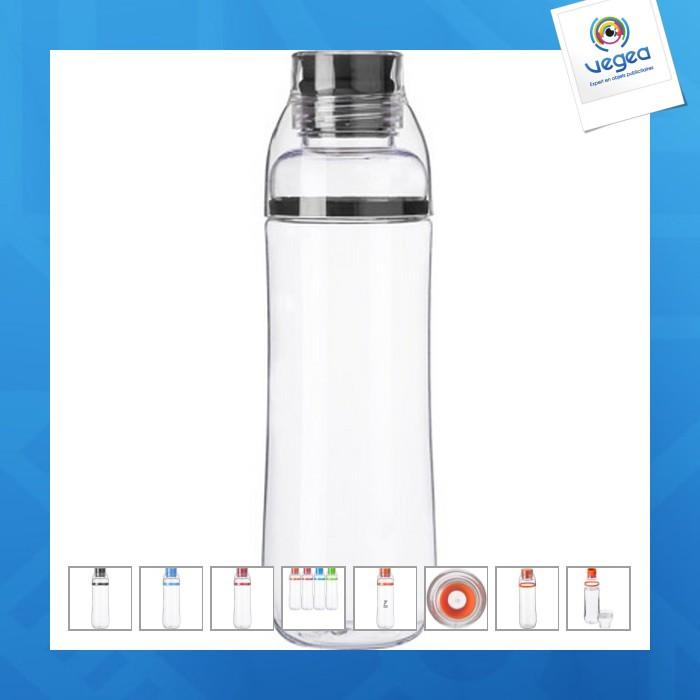 Bouteille personnalisable étanche en plastique translucide 750 ml avec verre