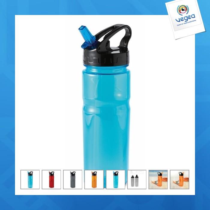 Bouteille personnalisable plastique avec paille repliable