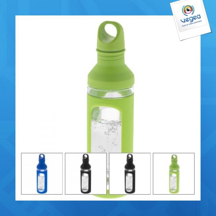 Bouteille publicitaire en verre simple paroi 590 ml avec gaine silicone