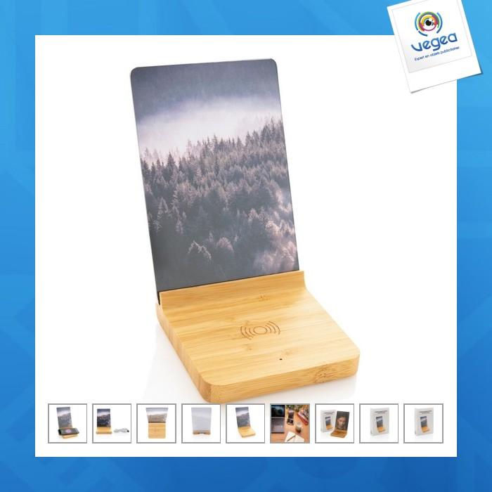 Cadre photo personnalisable avec chargeur sans fil bambou
