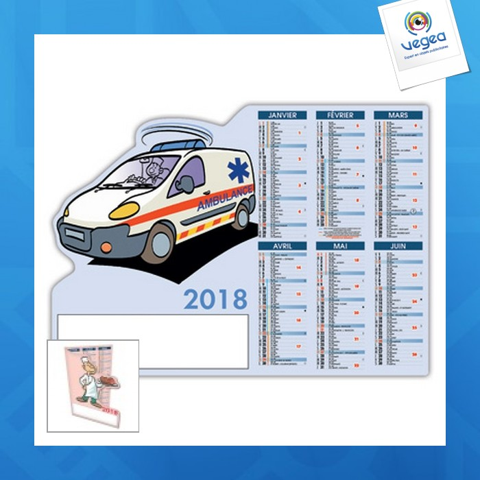 Calendrier decoupe 12 mois pro ambulancier
