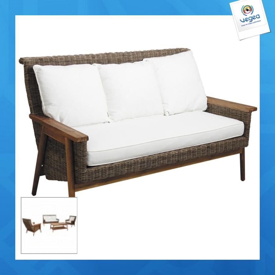 Canapé publicitaire en poelet gris antique et teck