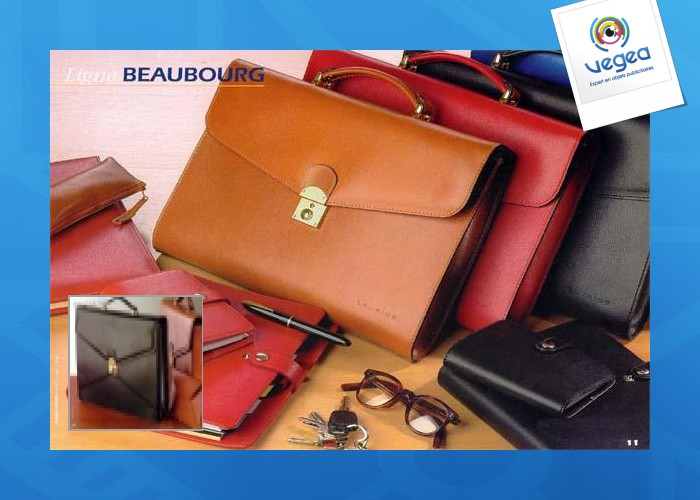 Cartable en cuir publicitaire  de veau grainé cartable et attache-case en cuir