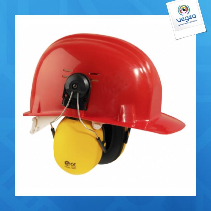 Casque de chantier publicitaire  avec casque anti-bruit