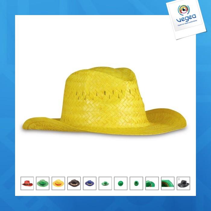 Chapeau de paille publicitaire en couleur